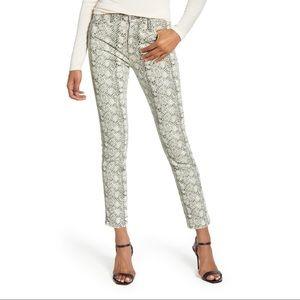 AG 'The Mari' High-rise Straight Croc Print Jeans